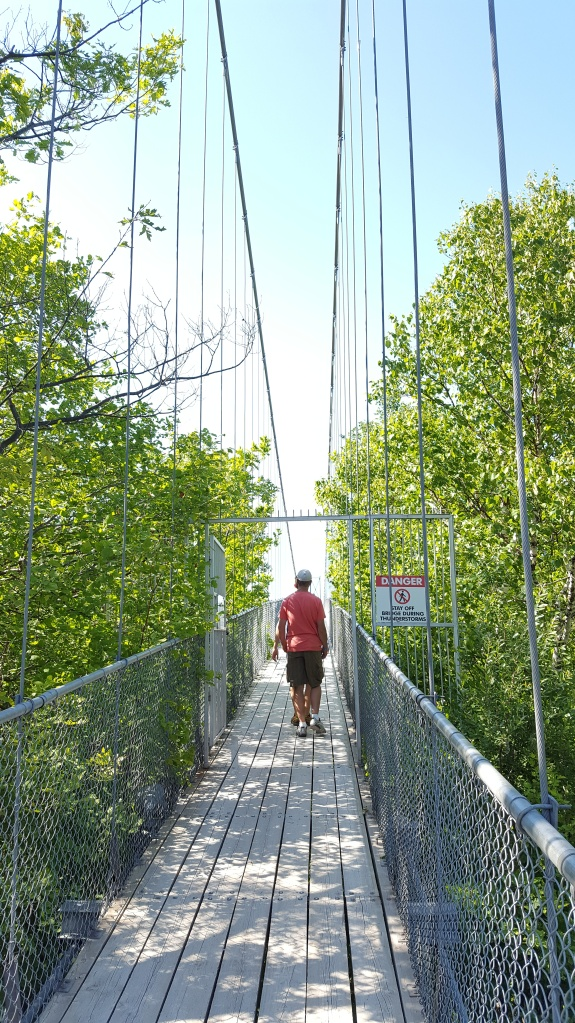 Entering suspension bridge.